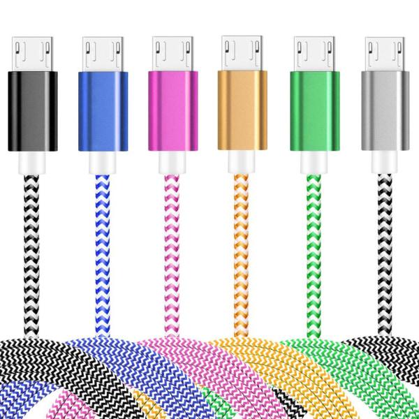 1 Meter - Micro USB Kabel I Slitstark Nylon - Rosa Pink Rosa