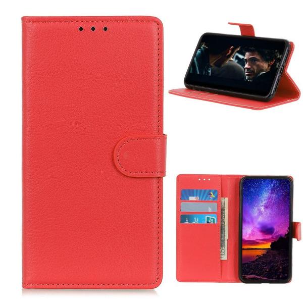 Samsung Galaxy A42 - Litchi Läder Fodral - Röd Red Röd