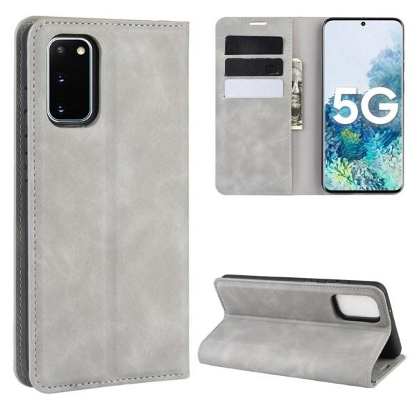 Samsung Galaxy S20 FE - Silkeslent Läderfodral - Grå Grey Grå
