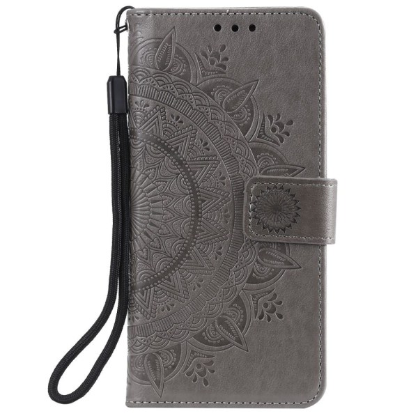 Samsung Galaxy A42 - Mandala Läder Fodral - Grå Grey Grå