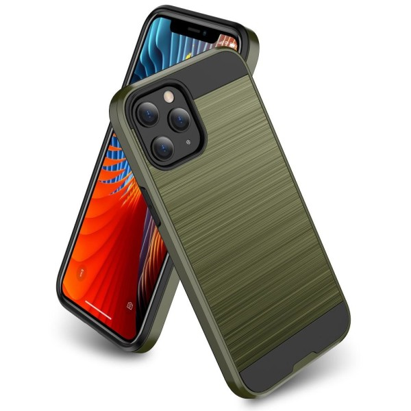 iPhone 12 Mini - Borstad Stål Textur Skal - Grön Green Grön