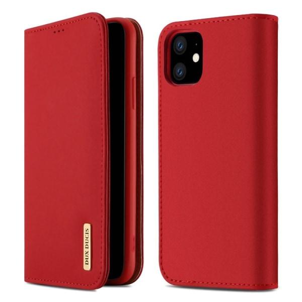 iPhone 11 - DUX DUCIS Wish Äkta Läder Fodral - Röd Red Röd