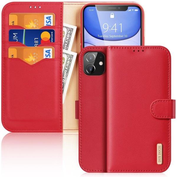 iPhone 11 - DUX DUCIS Hivo Äkta Läder Fodral - Röd Red Röd