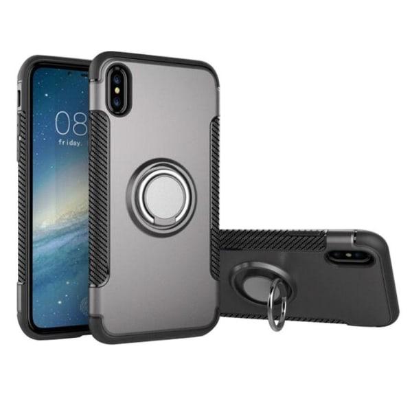 iPhone Xs Max - Armour Ring Skal - Grå Grey Grå
