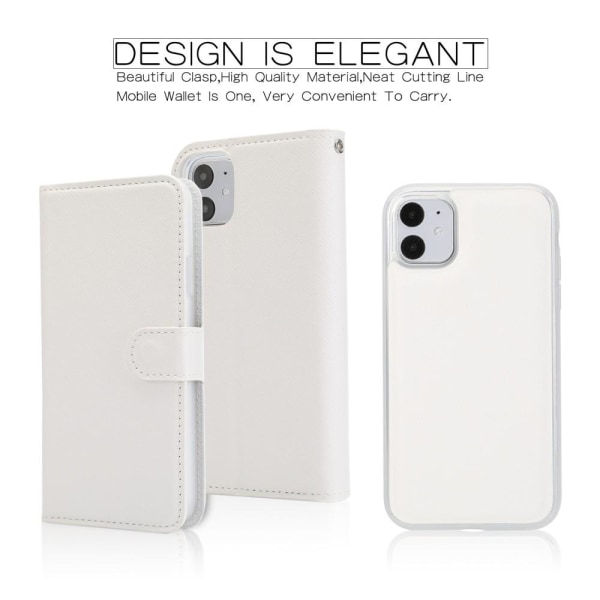 iPhone 11 - 2in1 Litchi Textur Magnet Fodral - Vit White Vit