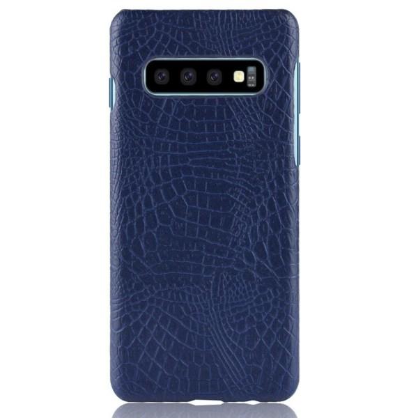 Samsung Galaxy S10 - Krokodil Mönster Skal - Mörk Blå DarkBlue Mörk Blå