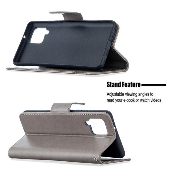 Samsung Galaxy A42 - Läder Fodral Med Tryck - Grå Grey Grå