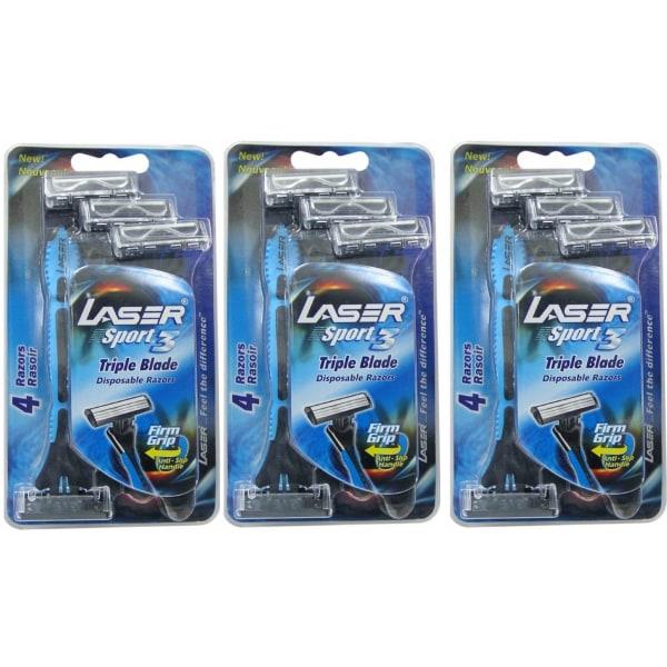 Rakhyvel 12-pack Laser Sport, 3-bladig hyvel för män, killar