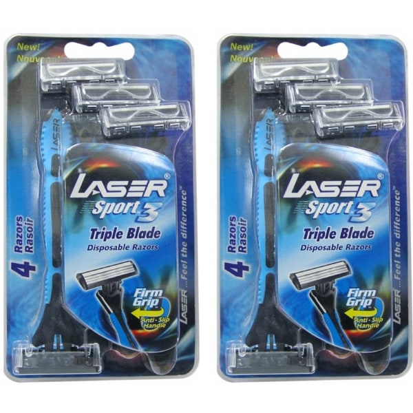 Rakhyvel 8-pack Laser Sport, 3-bladig hyvel för män, killar