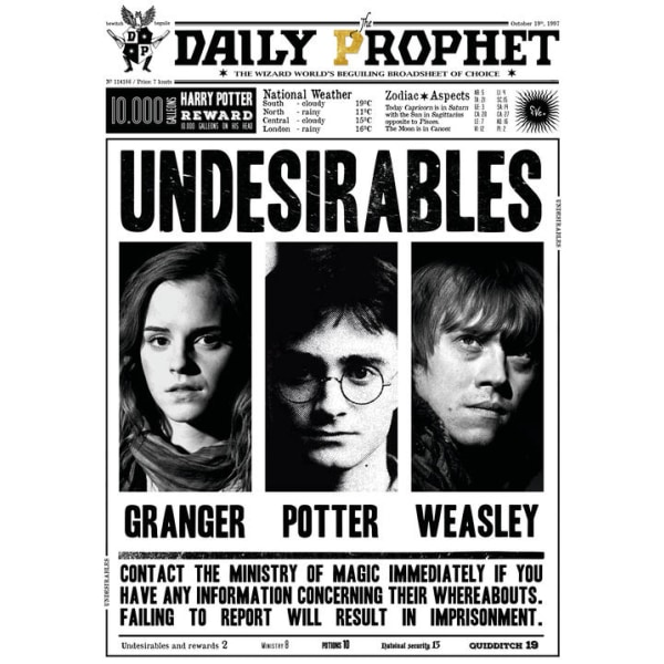 Pergament - Harry Potter - Daily Prophet - Uønskede Multicolor