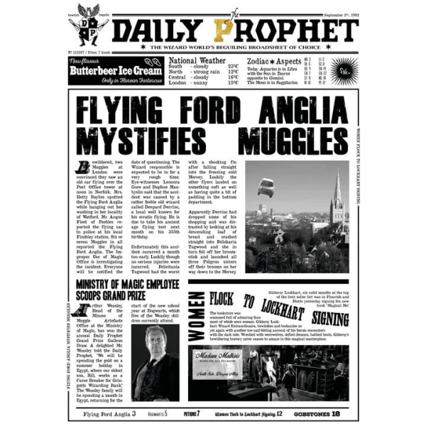 Pergament - Harry Potter - Daily Prophet - Flying Ford Anglia Multicolor
