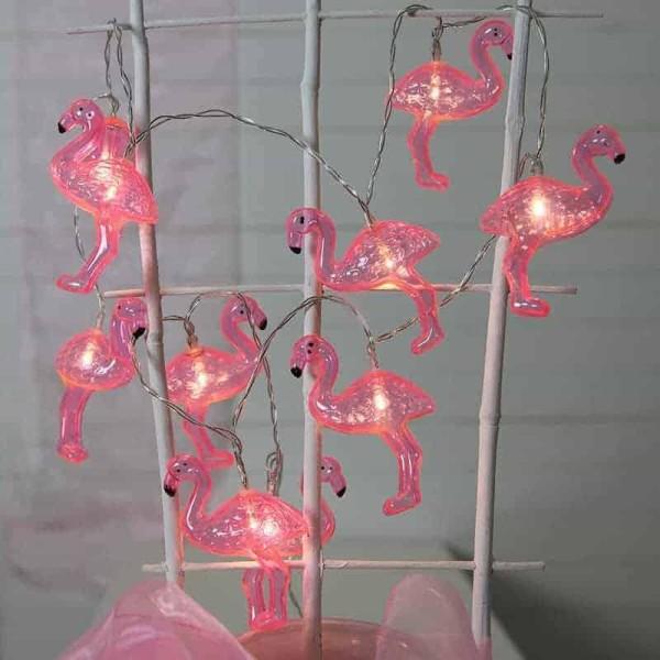 Batteridriven ljusslinga rosa flamingo med timer funktion