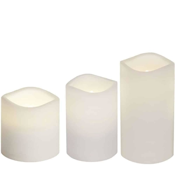 3-pack batteristyrda ljus i vit plast frostad yta med timer