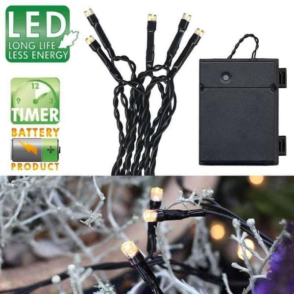 Batteridriven ljusslinga 80 LED utomhus med timer